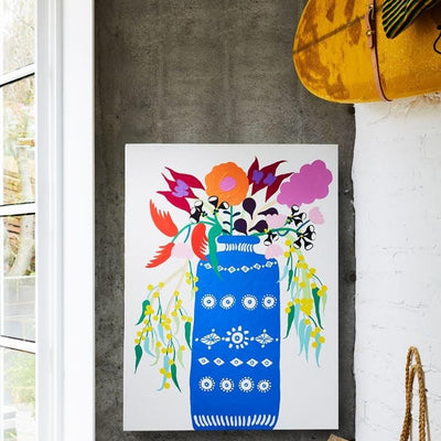Arrangement I (Blue Vase With Florals) Print