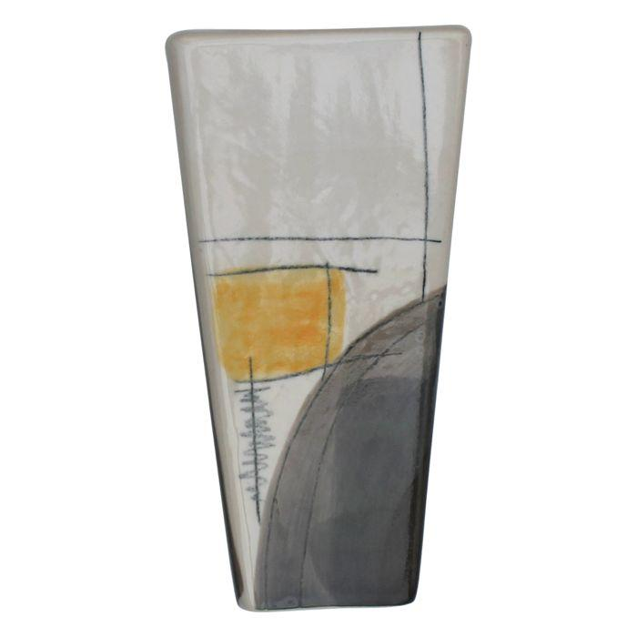 Art Series Vase - Grey & Yellow-Ceramics-Kaz Ceramics-Greenhouse Interiors