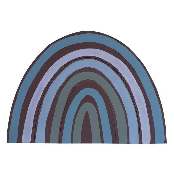 Timber rainbow wall hanging - blue on terra base