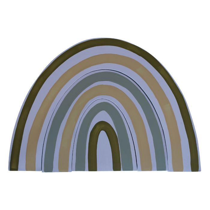 Timber rainbow wall hanging - green palette