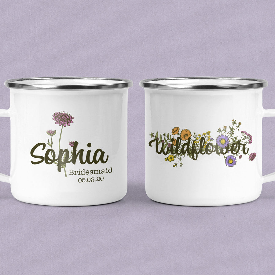 Personalized Mug, Flower Mug, Vintage Mug, Wedding Party Gift, Mothers day Gift
