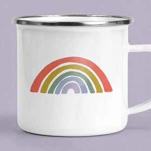 Retro Rainbow Camp Mug - Enamel Campfire Mug Retro style Personalized Gift for Her