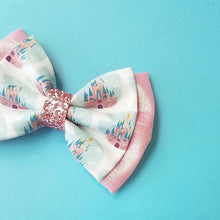 "Deluxe ""Pink Castle"" Disney Inspired Glitter Fabric Bow // BOW ONLY"