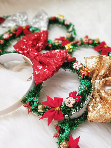 Christmas Inspired Tinsel Wreath Mouse Ears | LL+CO for DIAMOND AND WIRE