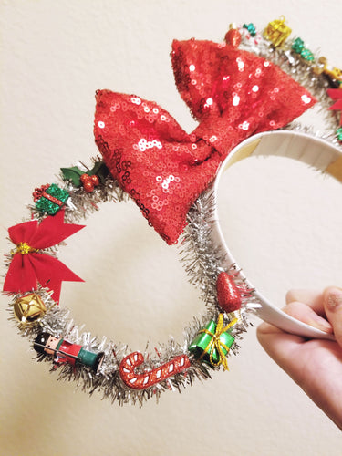 BLACK FRIDAY EXCLUSIVE- Silver Christmas Inspired Tinsel Wreath Mouse Ears | LL+CO for DIAMOND AND WIRE