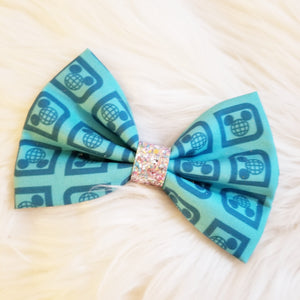 Monorail Logo Glitter Fabric Hair Bow