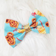 Dole Whip and Mickey Waffles Glitter Fabric Hair Bow