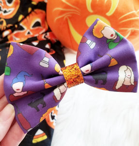 Hocus Pocus Sanderson Sisters Halloween Disney Inspired Glitter Fabric Bow // BOW ONLY