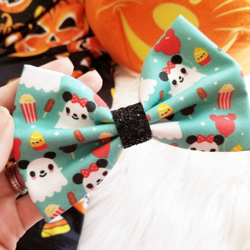 Ghost Mouse Halloween Disney Inspired Glitter Fabric Bow // BOW ONLY