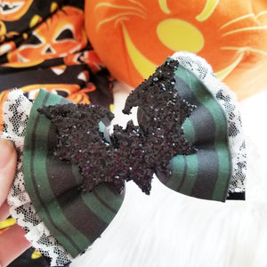 "Mansion Maid ""Haunted Mansion"" Halloween Disney Inspired Glitter Fabric Bow"