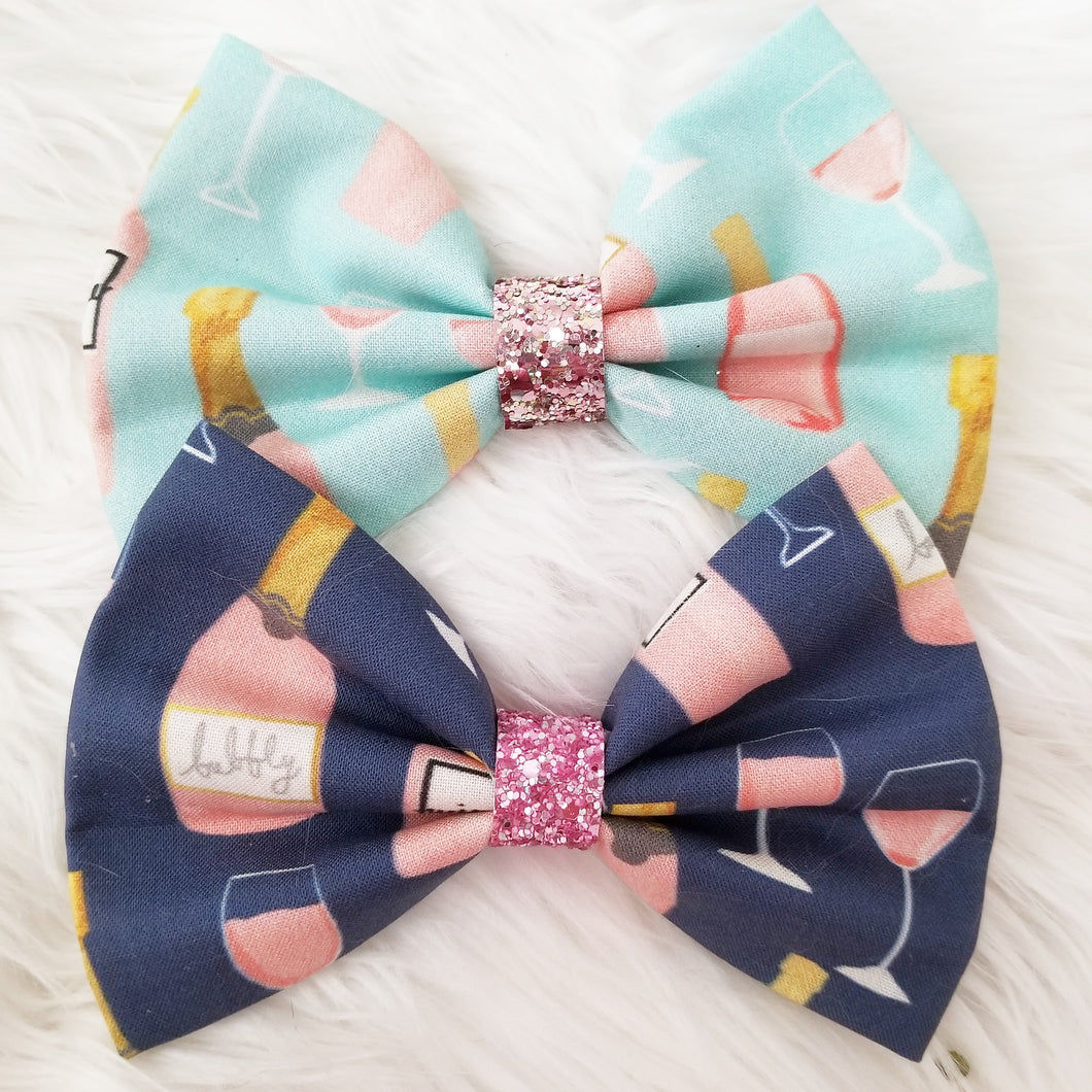 Rosé All Day / Food & Wine / Glitter Fabric Bow