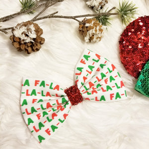 "Classic Christmas ""FA LA LA LA LA"" // Holiday Christmas Fabric Hair Bow"
