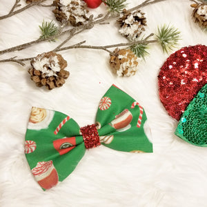"Classic Christmas ""Red Coffee Cup - Green"" // Holiday Christmas Fabric Hair Bow"