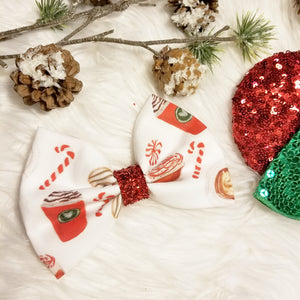 "Classic Christmas ""Red Coffee Cup - White"" // Holiday Christmas Fabric Hair Bow"