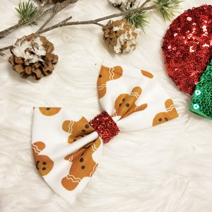 "Classic Christmas ""Gingerbread Men"" // Holiday Christmas Fabric Hair Bow"