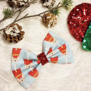 "Classic Christmas ""Toy Soldier Blue"" // Holiday Christmas Fabric Hair Bow"