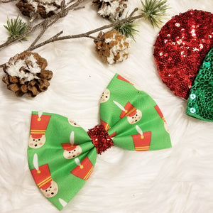 "Classic Christmas ""Toy Soldier Green"" // Holiday Christmas Fabric Hair Bow"