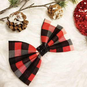 "Camp Christmas ""Buffalo Plaid-White, Red, Black"" // Holiday Christmas Fabric Hair Bow"