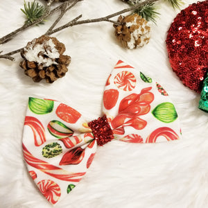 "Vintage Christmas ""Candy"" // Holiday Christmas Fabric Hair Bow"