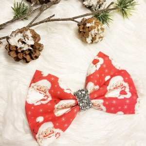 "*PRE-ORDER* Allow up to 2 weeks! Vintage Christmas ""Red Santa"" // Holiday Christmas Fabric Hair Bow"