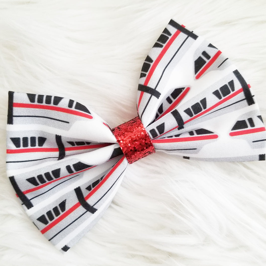 Monorail Red Inspired Disney Fabric Hair Bow