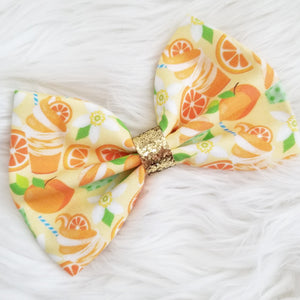 Orange Swirl Snacks Inspired Disney Fabric Hair Bow