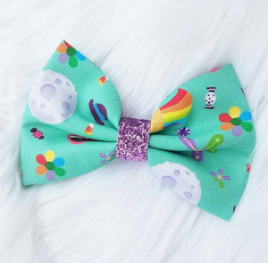 "Bing Bong ""Inside Out"" Disney Pixar Inspired Glitter Fabric Bow"