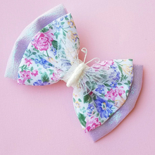 Flower and Garden Festival White Floral Disney Inspired Glitter Fabric Bow // BOW ONLY