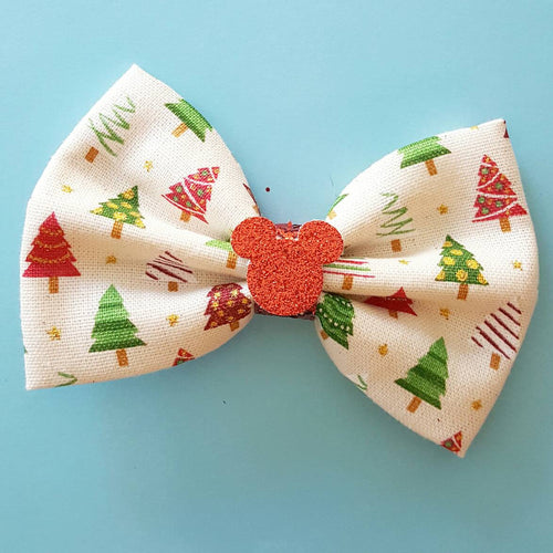 Holiday Christmas Tree Metallic Glitter Fabric Hair Bow