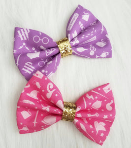 Purple Pastel Potter Harry Potter Glitter Fabric Hair Bow