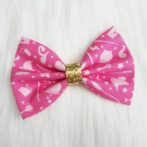 Pink Pastel Potter // Harry Potter Inspired Glitter Fabric Hair Bow
