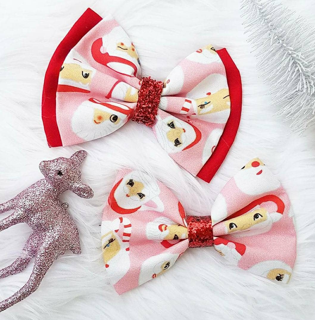 Vintage Sassy Santa Mug // Holiday Christmas Fabric Hair Bow