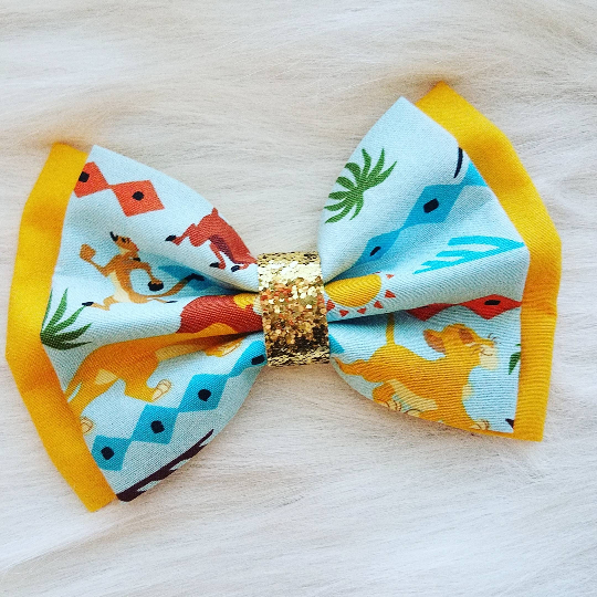 Lion King Disney Inspired Deluxe Glitter Fabric Hair Bow