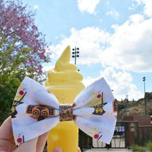 "Dole Whip ""Polynesian Tiki"" Disney Inspired Glitter Fabric Hair Bow"