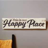Our Happy Place Slatted Sign