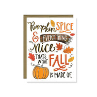 Pumpkin Spice & Everything Nice Card, Fall, Autumn, Seasonal