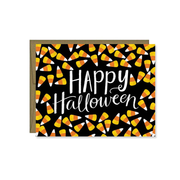 Happy Halloween, Candy Corn, Fall Greeting Card, Cute