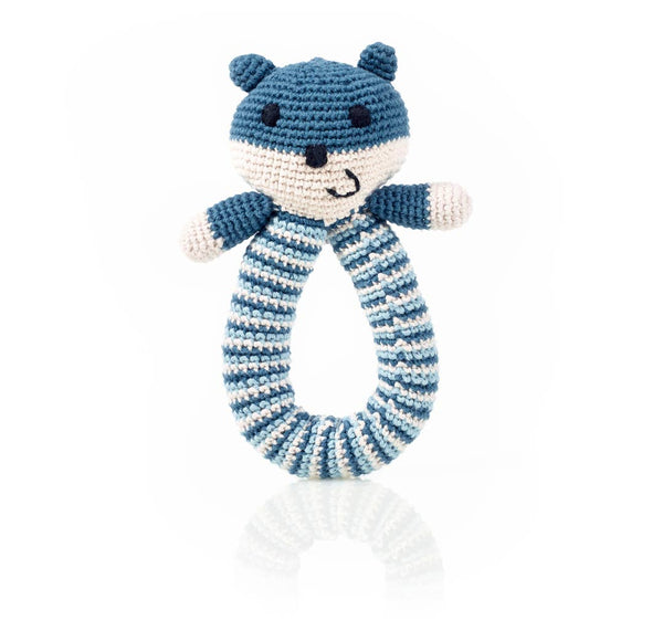 Blue Organic Bear Ring Rattle
