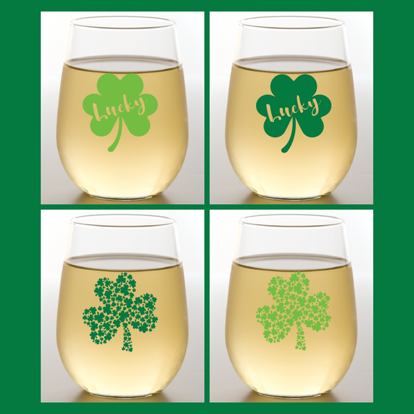 ST. PATRICK'S DAY CLOVERS Shatterproof Wine Glasses