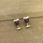 Red Wine Glass Enamel Earrings