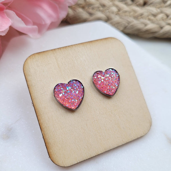 Heart Druzy Stud Earrings- pink