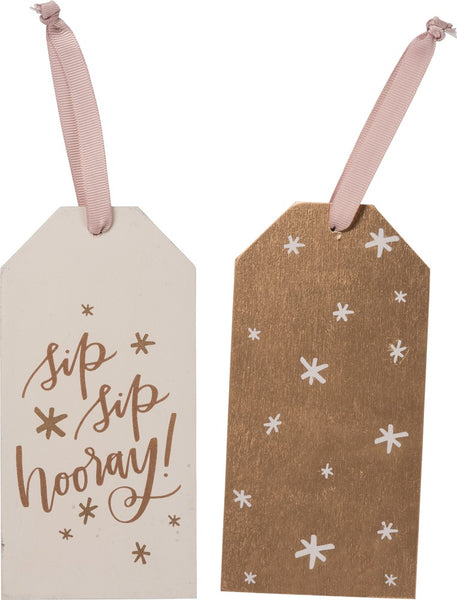 "Wine Bottle Tag ""Sip,Sip Hooray"""