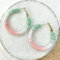 Pastel Multi Beaded Hoop Earrings