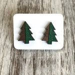 Two Tone Wood & Glitter Tree Earrings
