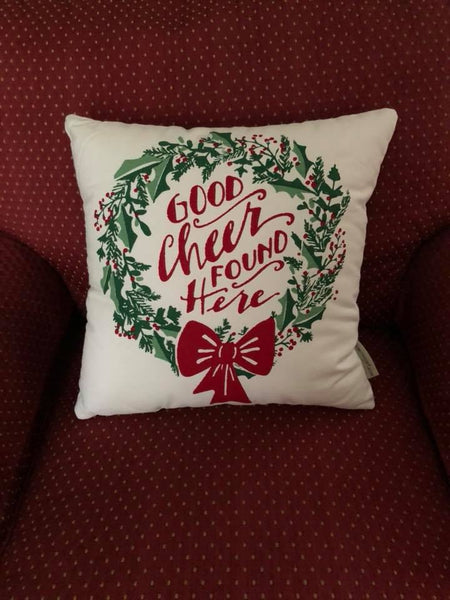 """Good Cheer Found Here"" Pillow"