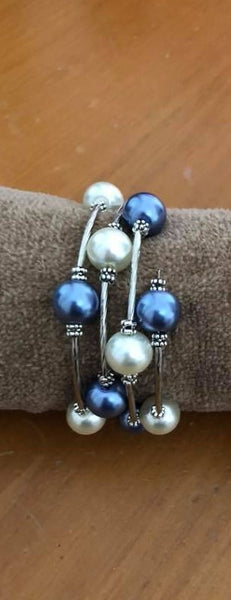 Pearl Memory Wire Bracelet--Blue/White