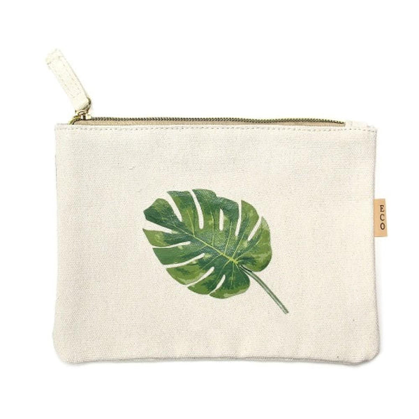 Palm Leaf Canvas Travel Pouch