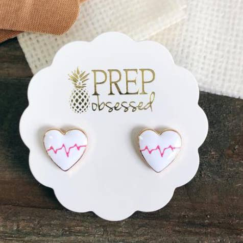 Heartbeat Enamel Earrings