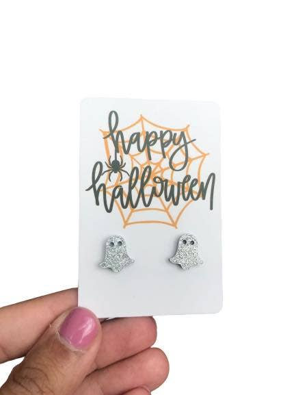 Sparkly Ghost Stud Earrings