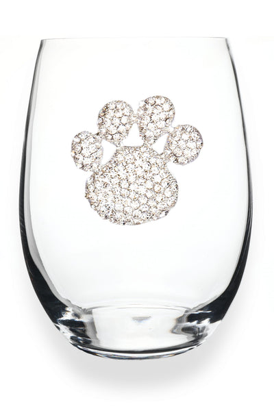 The Queens Jewels — Paw Print Stemless Wine Glass